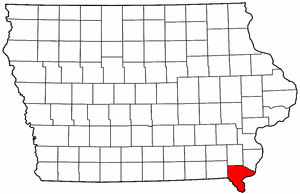 Iowa Map showing Lee County