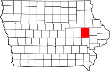 Iowa Map showing Linn County