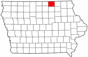 Iowa Map showing Mitchell County