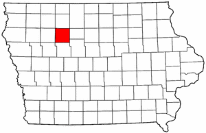 Iowa Map showing Pocahontas County