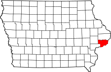 Iowa Map showing Scott County
