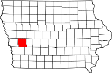 Iowa Map showing Shelby County