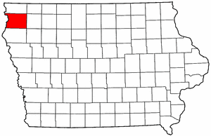 Iowa Map showing Sioux County