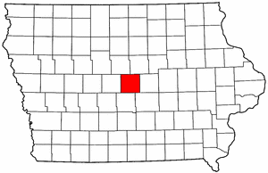 Iowa Map showing Story County