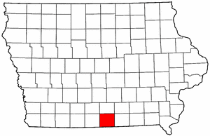 Iowa Map showing Wayne County