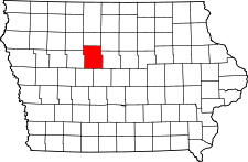 Iowa Map showing Webster County