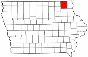 Iowa Map showing Winneshiek County