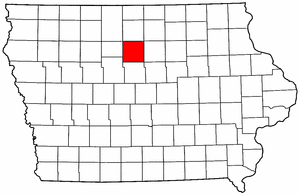 Iowa Map showing Wright County