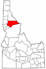 Idaho Map showing Clearwater County
