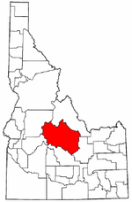 Idaho Map showing Custer County