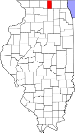 Illinois Map showing Boone County