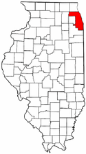 Illinois Map showing Cook County