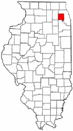 Illinois Map showing Du Page County