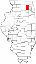 Illinois Map showing Kane County