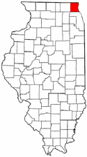 Illinois Map showing Lake County
