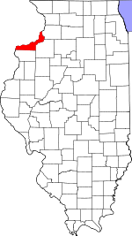 Illinois Map showing Rock Island County
