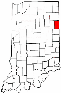 Indiana Map showing Adams County