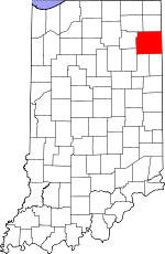 Indiana Map showing Allen County