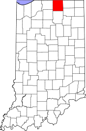 Indiana Map showing Elkhart County