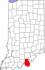 Indiana Map showing Harrison County