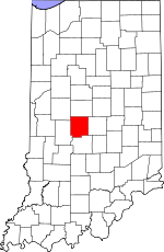 Indiana Map showing Hendricks County