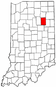 Indiana Map showing Huntington County