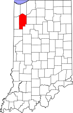 Indiana Map showing Jasper County