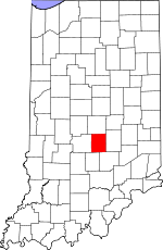 Indiana Map showing Johnson County