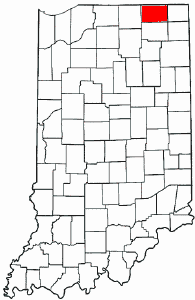 Indiana Map showing Lagrange County