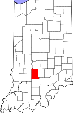 Indiana Map showing Monroe County