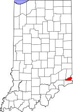 Indiana Map showing Ohio County