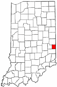 Indiana Map showing Union County