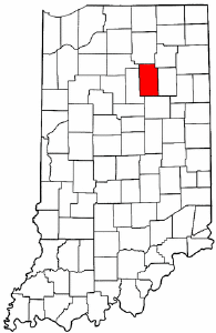 Indiana Map showing Wabash County