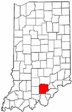 Indiana Map showing Washington County