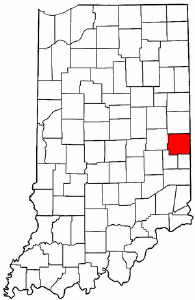 Indiana Map showing Wayne County