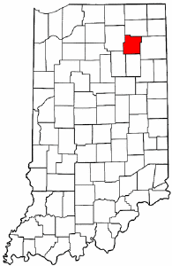 Indiana Map showing Whitley County