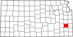 Kansas Map showing Allen County