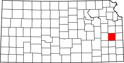 Kansas Map showing Anderson County