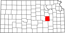 Kansas Map showing Chase County
