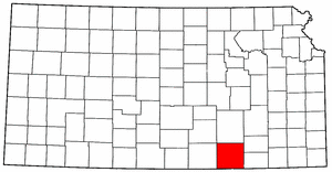 Kansas Map showing Cowley County