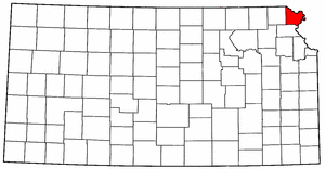 Kansas Map showing Doniphan County