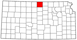 Kansas Map showing Jewell County