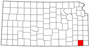 Kansas Map showing Labette County