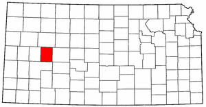 Kansas Map showing Lane County