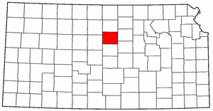 Kansas Map showing Lincoln County