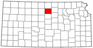 Kansas Map showing Mitchell County