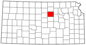 Kansas Map showing Ottawa County