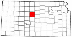 Kansas Map showing Russell County