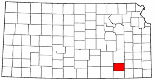 Kansas Map showing Wilson County