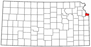 Kansas Map showing Wyandotte County